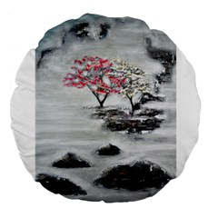 Mountains, Trees And Fog Large 18  Premium Flano Round Cushions by timelessartoncanvas