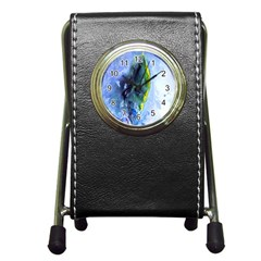Bright Yellow And Blue Abstract Pen Holder Desk Clocks by timelessartoncanvas