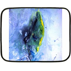 Bright Yellow And Blue Abstract Fleece Blanket (mini)