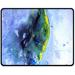 Bright Yellow And Blue Abstract Fleece Blanket (medium)