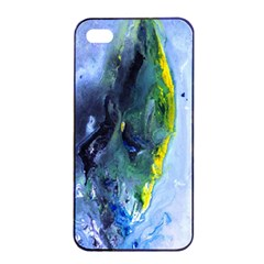 Bright Yellow and Blue Abstract Apple iPhone 4/4s Seamless Case (Black)