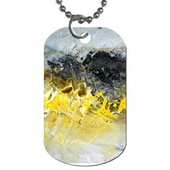 Bright Yellow Abstract Dog Tag (two Sides) by timelessartoncanvas