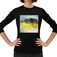 Bright Yellow Abstract Women s Long Sleeve Dark T Shirts by timelessartoncanvas