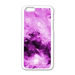Bright Pink Abstract Apple iPhone 6 White Enamel Case by timelessartoncanvas