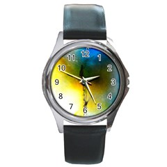 Watercolor Abstract Round Metal Watches by timelessartoncanvas