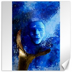 Blue Mask Canvas 16  X 16   by timelessartoncanvas