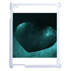 Teal Heart Apple Ipad 2 Case (white) by timelessartoncanvas