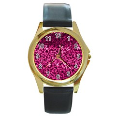 Pink Cubes Round Gold Metal Watches by timelessartoncanvas