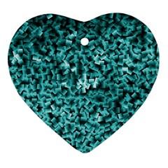 Teal Cubes Ornament (heart)  by timelessartoncanvas