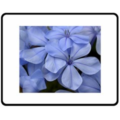 Bright Blue Flowers Double Sided Fleece Blanket (medium)  by timelessartoncanvas