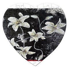 Black And White Lilies Jigsaw Puzzle (heart) by timelessartoncanvas