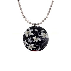 Black And White Lilies Button Necklaces by timelessartoncanvas