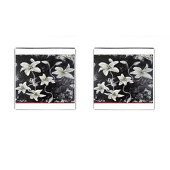 Black And White Lilies Cufflinks (square) by timelessartoncanvas