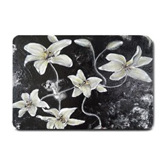 Black And White Lilies Small Doormat  by timelessartoncanvas