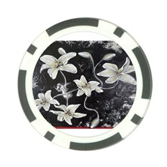 Black And White Lilies Poker Chip Card Guards by timelessartoncanvas