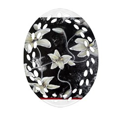 Black And White Lilies Oval Filigree Ornament (2 Side)  by timelessartoncanvas