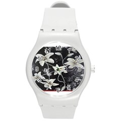 Black And White Lilies Round Plastic Sport Watch (m) by timelessartoncanvas