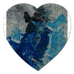 Blue Abstract Jigsaw Puzzle (Heart) by timelessartoncanvas