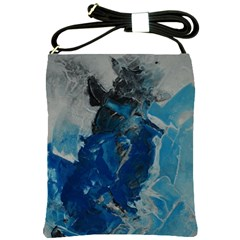 Blue Abstract Shoulder Sling Bags by timelessartoncanvas