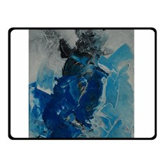 Blue Abstract Double Sided Fleece Blanket (small)  by timelessartoncanvas