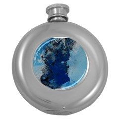 Blue Abstract No 2 Round Hip Flask (5 Oz) by timelessartoncanvas