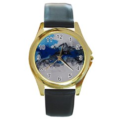 Blue Abstract No 4 Round Gold Metal Watches by timelessartoncanvas