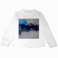 Blue Abstract No.4 Kids Long Sleeve T-Shirts by timelessartoncanvas