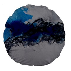 Blue Abstract No.4 Large 18  Premium Flano Round Cushions by timelessartoncanvas