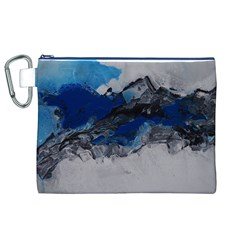Blue Abstract No 4 Canvas Cosmetic Bag (xl)  by timelessartoncanvas