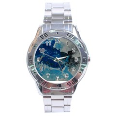 Blue Abstract No  6 Stainless Steel Men s Watch