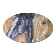 2 Horses Oval Magnet by timelessartoncanvas