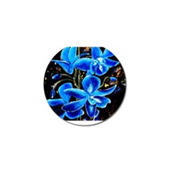 Bright Blue Abstract Flowers Golf Ball Marker (10 Pack) by timelessartoncanvas