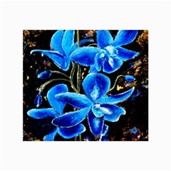 Bright Blue Abstract Flowers Collage 12  X 18  by timelessartoncanvas