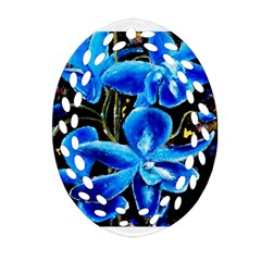Bright Blue Abstract Flowers Oval Filigree Ornament (2 Side)  by timelessartoncanvas