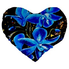 Bright Blue Abstract Flowers Large 19  Premium Heart Shape Cushions by timelessartoncanvas