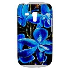 Bright Blue Abstract Flowers Samsung Galaxy S3 MINI I8190 Hardshell Case by timelessartoncanvas