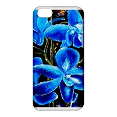 Bright Blue Abstract Flowers Apple Iphone 5c Hardshell Case by timelessartoncanvas
