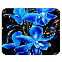 Bright Blue Abstract Flowers Double Sided Flano Blanket (medium)