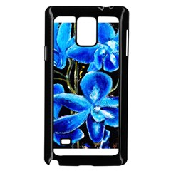 Bright Blue Abstract Flowers Samsung Galaxy Note 4 Case (Black) by timelessartoncanvas