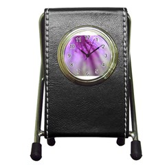 Purple Flower Pedal Pen Holder Desk Clocks by timelessartoncanvas