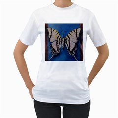 Butterfly Women s T-Shirt (White) (Two Sided)