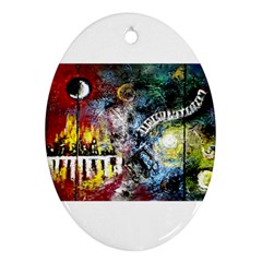Abstract Music Painting Ornament (oval)  by timelessartoncanvas