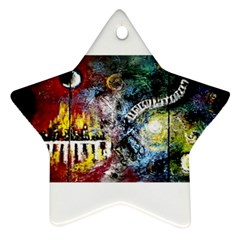 Abstract Music Painting Star Ornament (two Sides)  by timelessartoncanvas