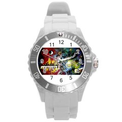Abstract Music Painting Round Plastic Sport Watch (l) by timelessartoncanvas