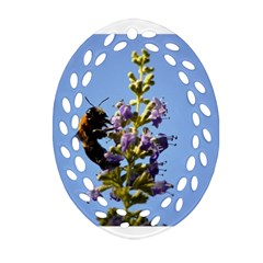 Bumble Bee 1 Ornament (Oval Filigree)  by timelessartoncanvas