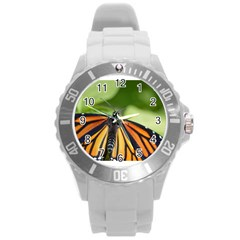 Butterfly 3 Round Plastic Sport Watch (l) by timelessartoncanvas