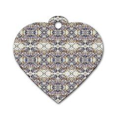 Oriental Geometric Floral Print Dog Tag Heart (one Side) by dflcprints