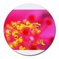 Bright Pink Hibiscus Round Mousepads by timelessartoncanvas