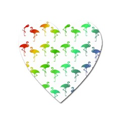 Flamingo Pattern Rainbow  Heart Magnet by CrypticFragmentsColors