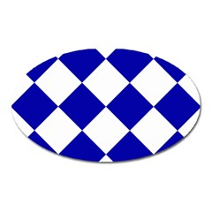 Harlequin Diamond Pattern Cobalt Blue White Oval Magnet by CrypticFragmentsColors